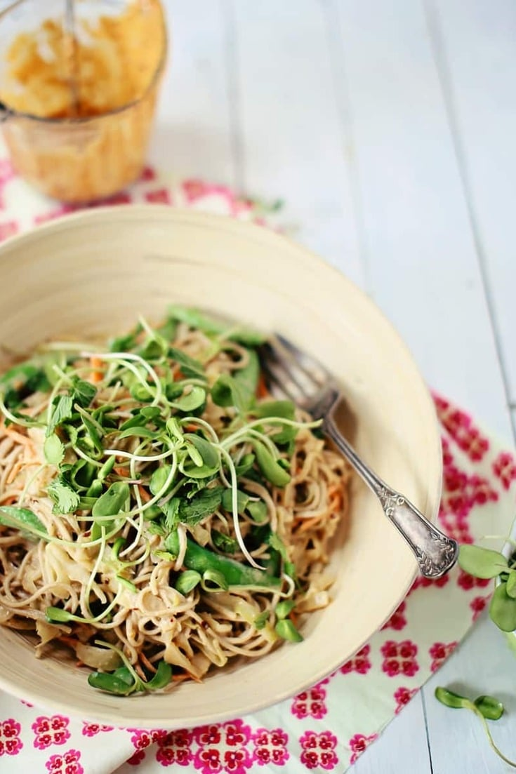 This Soba Cabbage Noodle Salad recipe is so addictive and perfect for summer! Packed with crisp veggies, served cold and dressed with an asian-style homemade peanut dressing - this healthy salad recipe is one of my favs!
