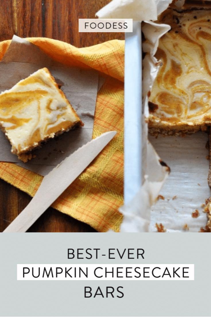 homemade pumpkin cheese bars in a pan