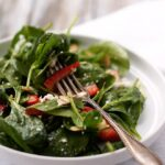 Strawberry Spinach Salad with Almonds and Goat Cheese