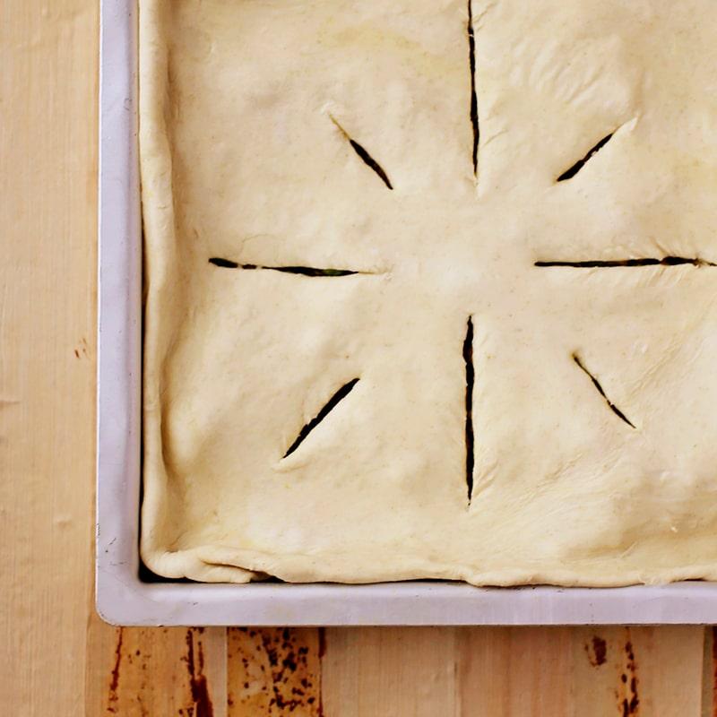raw pie dough on samosa pie