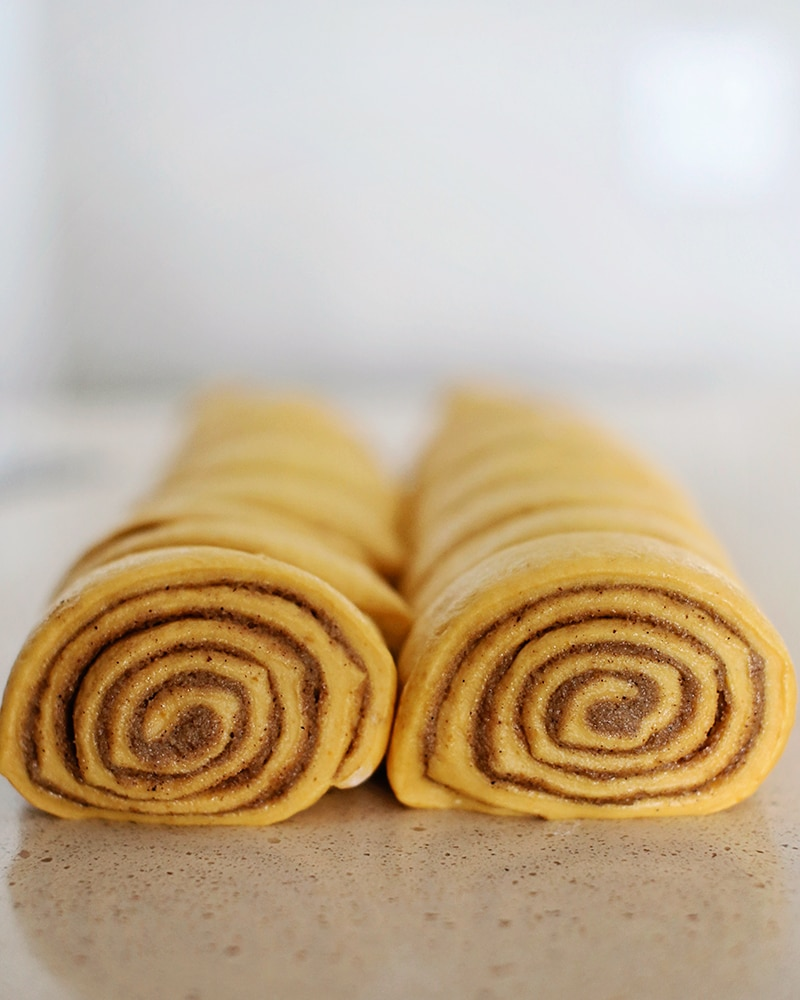 raw pumpkin cinnamon roll dough rolled up