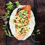 Grilled Salmon with Avocado-Melon-Cucumber Salsa