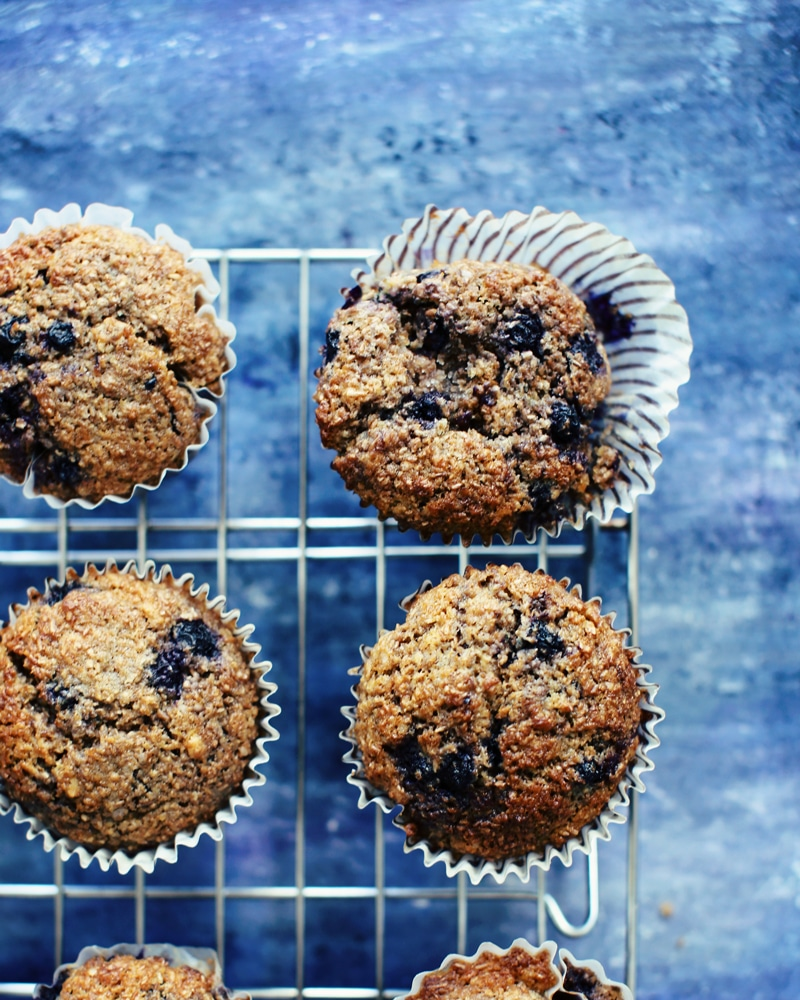 blueberry bran muffins on a blue background