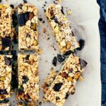 Chewy Homemade Granola Bars with Chocolate, Cranberries + Pistachios