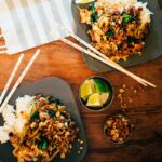 Spicy Ground Pork and Vegetable Stir Fry with Peanut Sauce