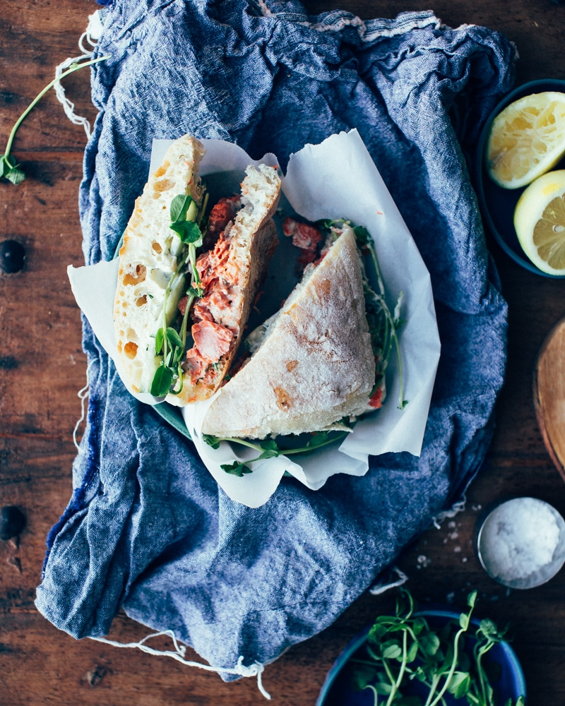 Spring Salmon Sandwiches with Pea Sprouts + Lemon-Dill Aioli Recipe ...