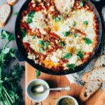 Shakshuka (Baked eggs in Tomato Sauce) with Broiled Feta
