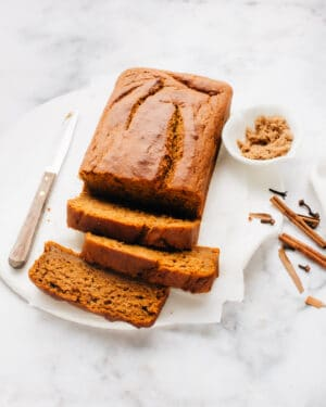 A perfect, soft pumpkin bread recipe with warm fall spices, guaranteed to stay moist for days.