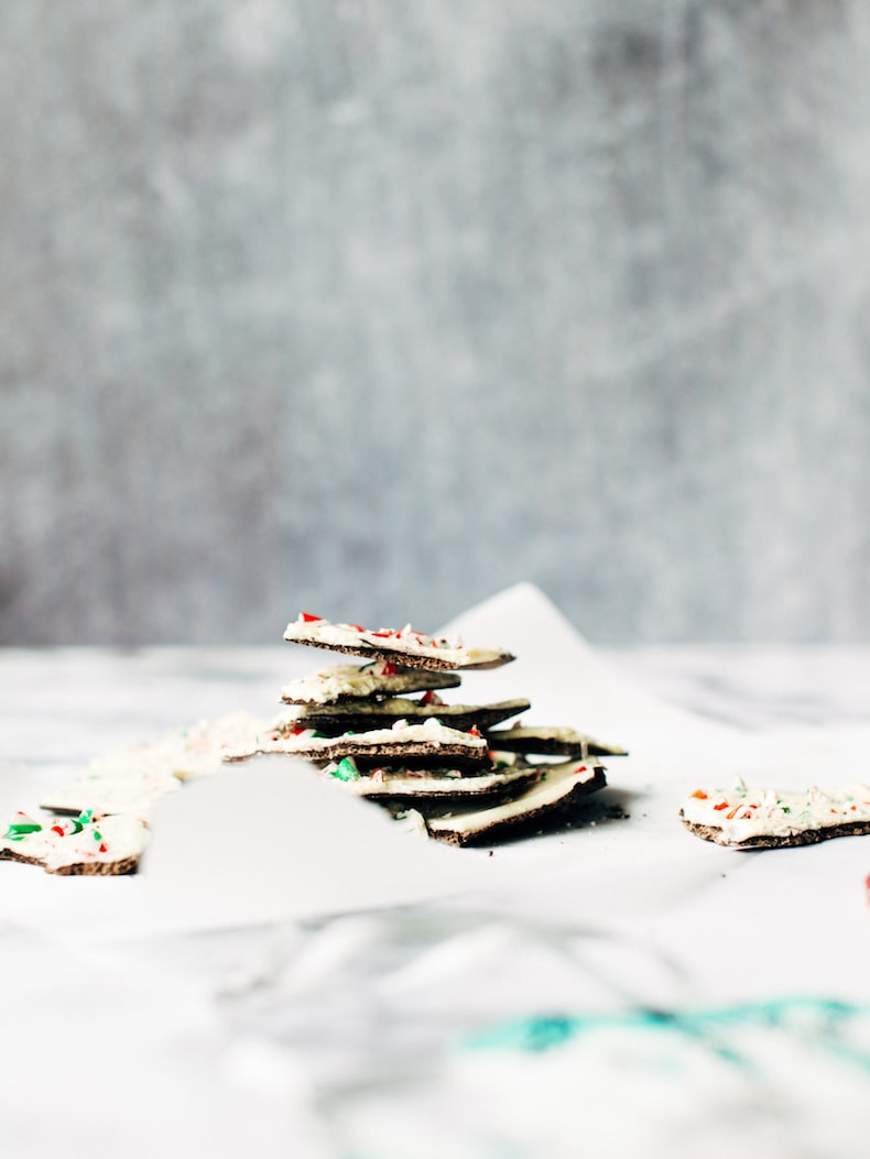 candy cane bark piled high on a piece of parchment