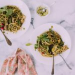 Chicken Fettuccine with Chard-Almond Pesto