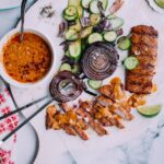 Spiced Grilled Pork Tenderloin + Peanut Sauce and Cucumber Salad