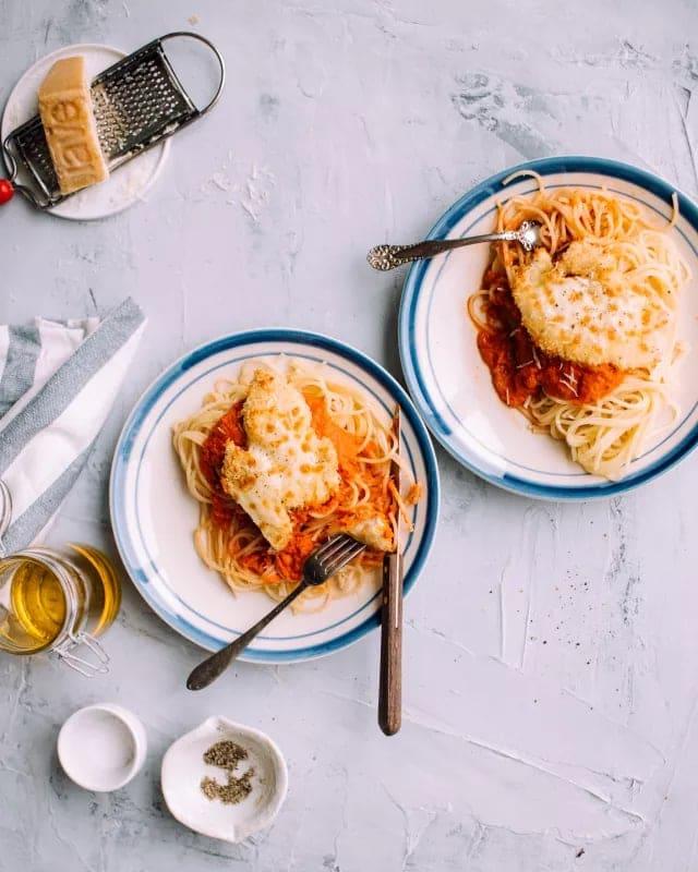 Crispy Baked Chicken Parmesan Recipe Foodess Com