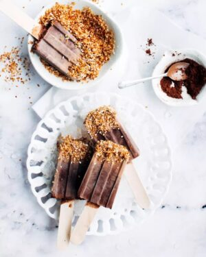 homemade fudgesicles sprinkled with coconut