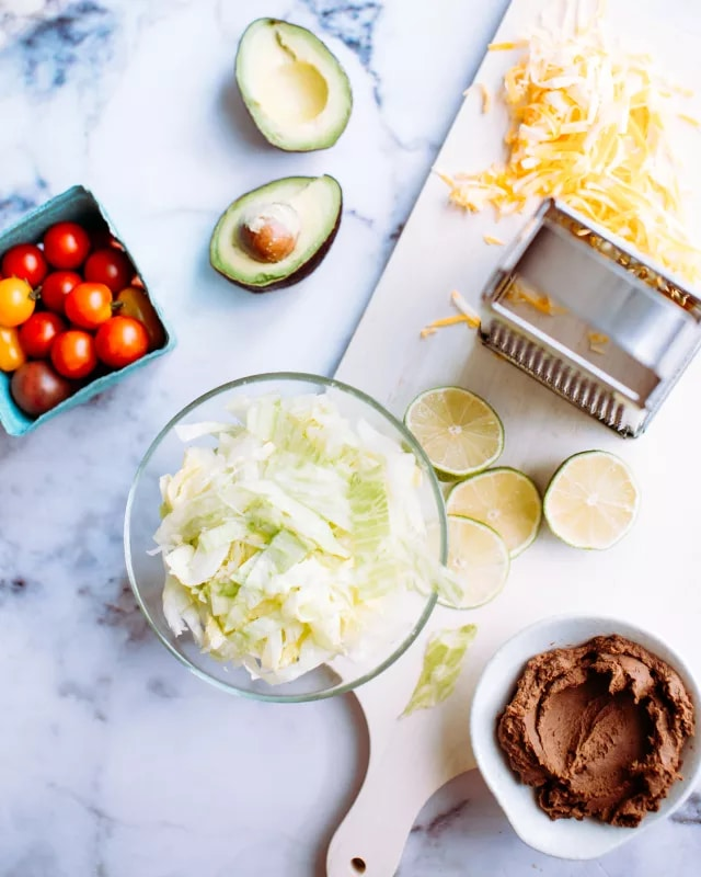 vegetarian taco salad with lime crema recipe. Black Bedroom Furniture Sets. Home Design Ideas