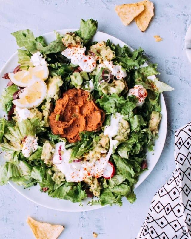 Vegetarian Taco Salad with Lime Crema Recipe - Foodess com