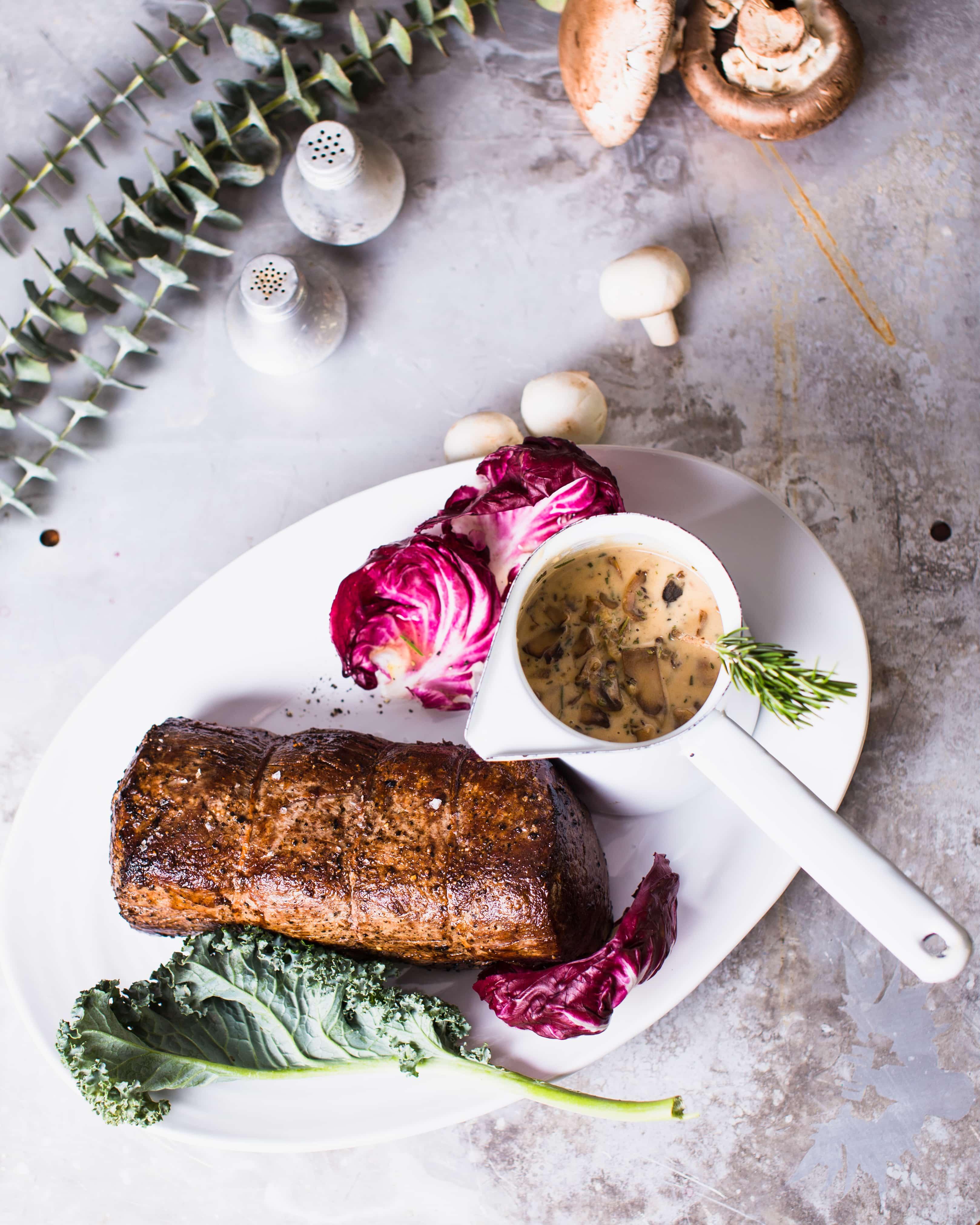 Roast Beef Tenderloin with Mushroom Cream Sauce