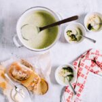 Cream of Broccoli Soup topped with Crispy Roasted Broccoli