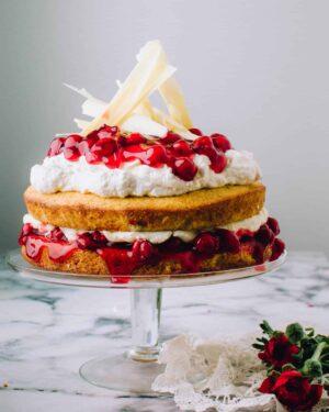 White Chocolate Cherry Cake