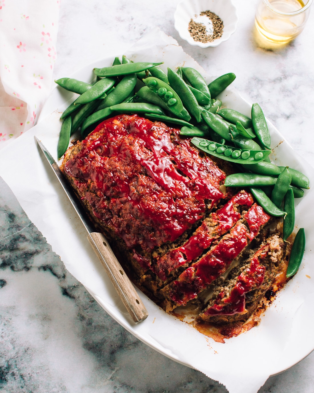 homemade meatloaf with peas