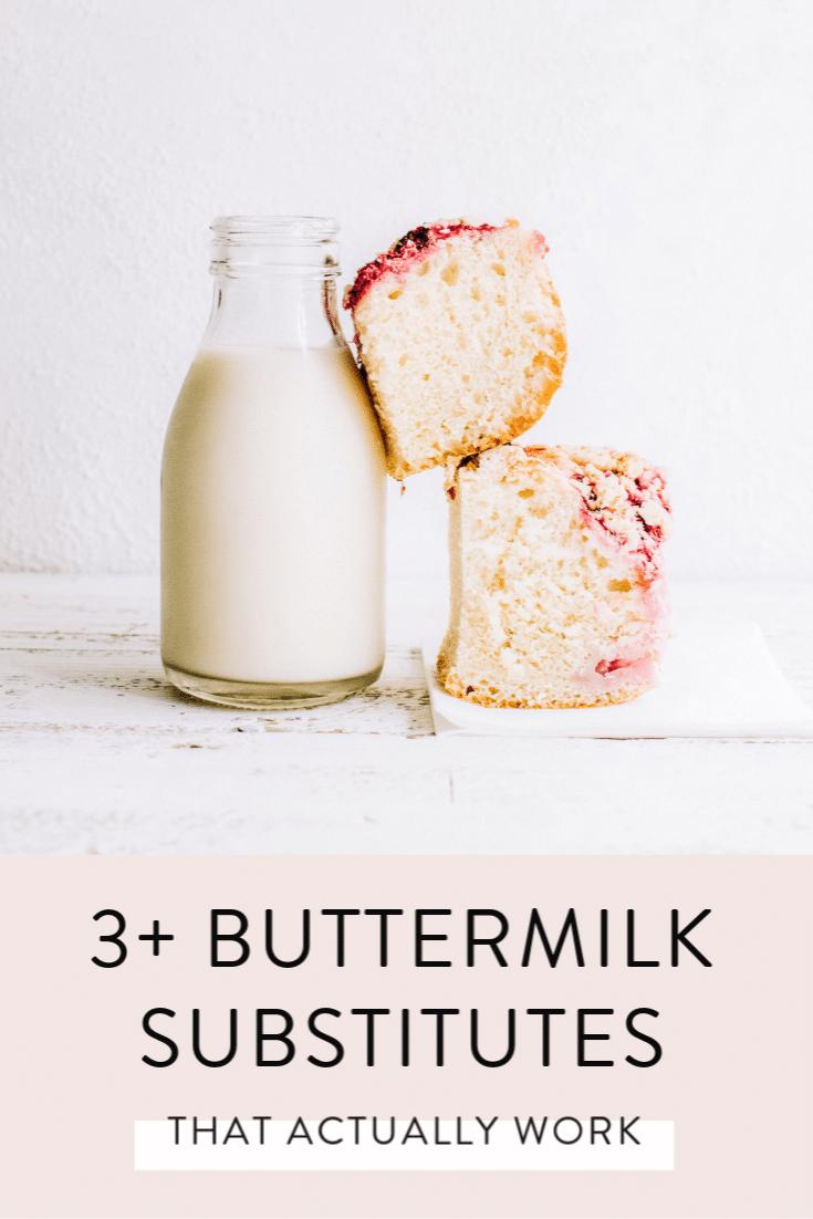 buttermilk in a glass beside slice of baking