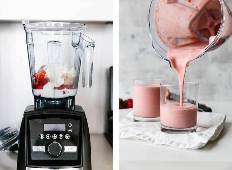 strawberry smoothie ingredients in blender and being poured into glass