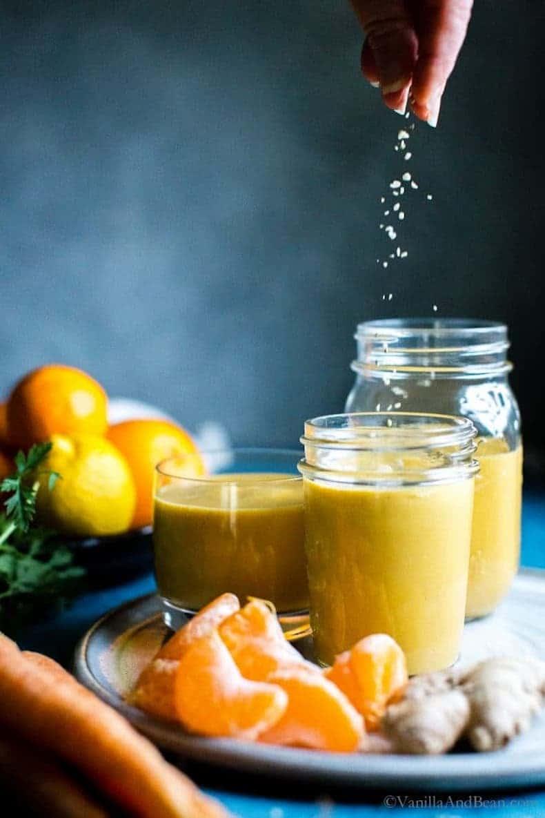 orange squeezed into smoothie