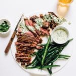 Flat Iron Steak with Creamy Peruvian Green Sauce (Aji Verde)