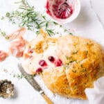 Puff Pastry Baked Brie and Prosciutto di Parma with Cranberries