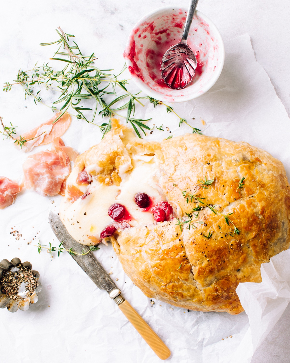 Puff Pastry Baked Brie with Prosciutto