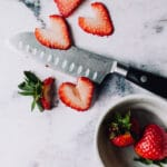 Cut strawberries into hearts
