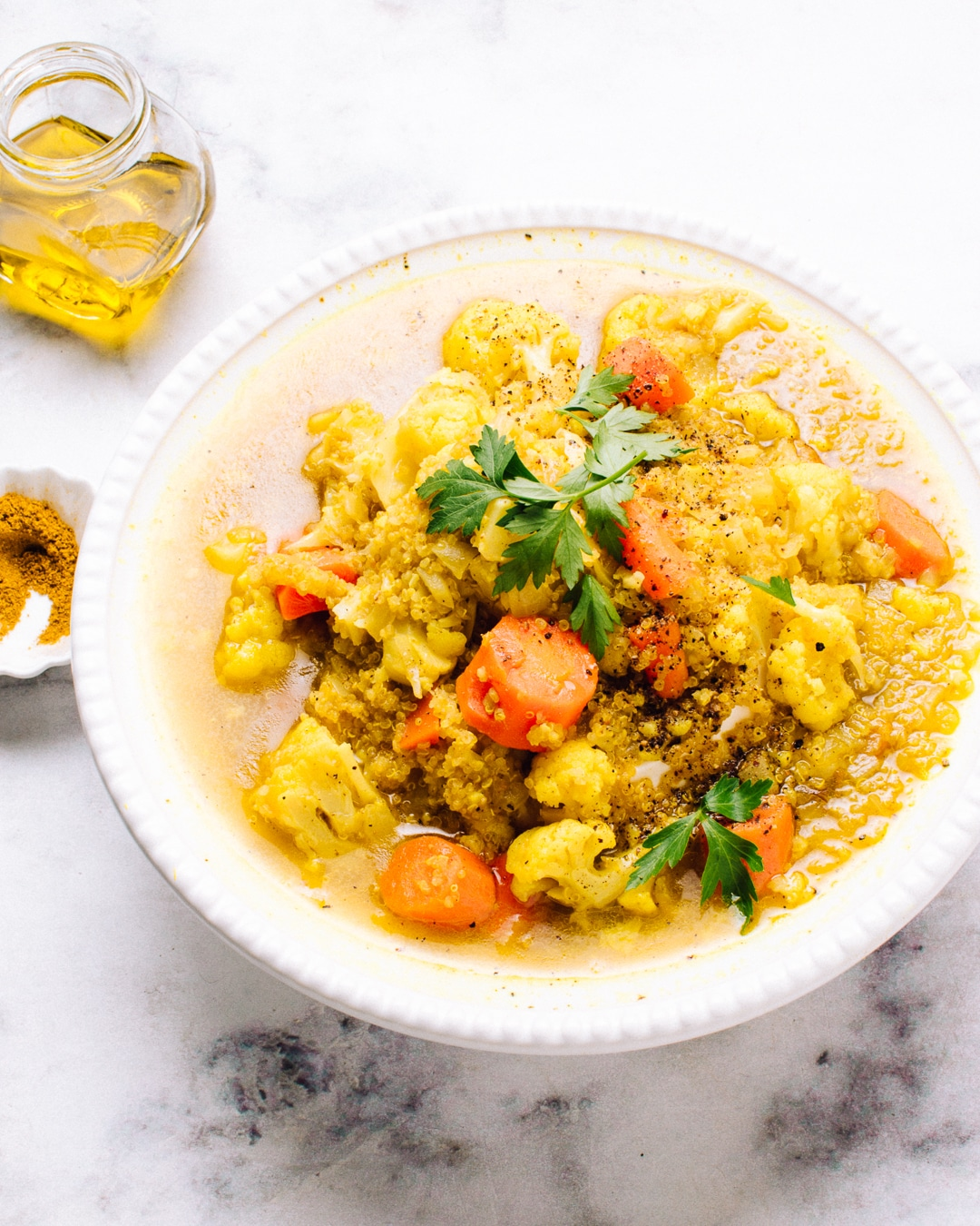 Curried Cauliflower and Quinoa Soup Recipe