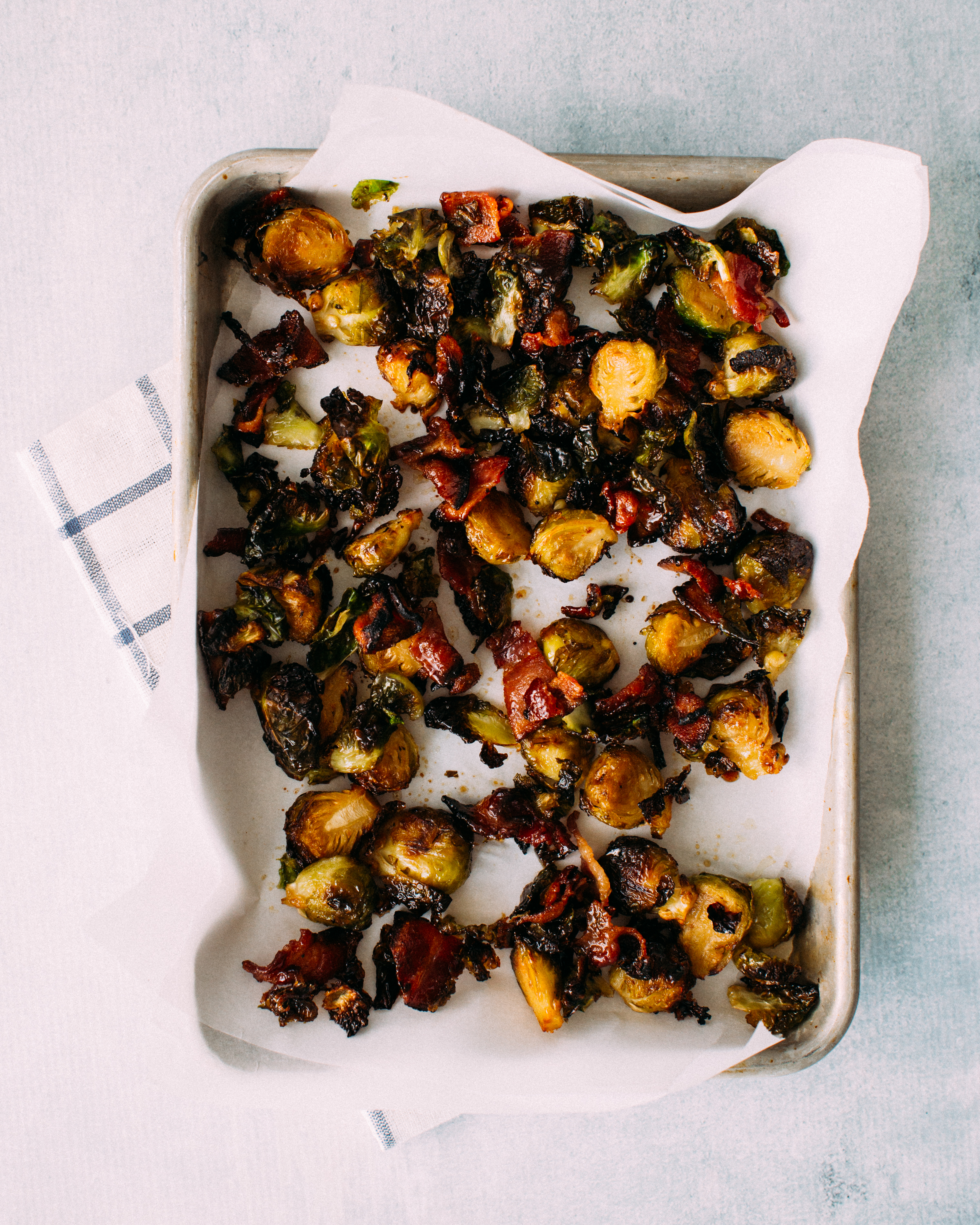 Candied Brussels Sprouts with bacon and maple syrup
