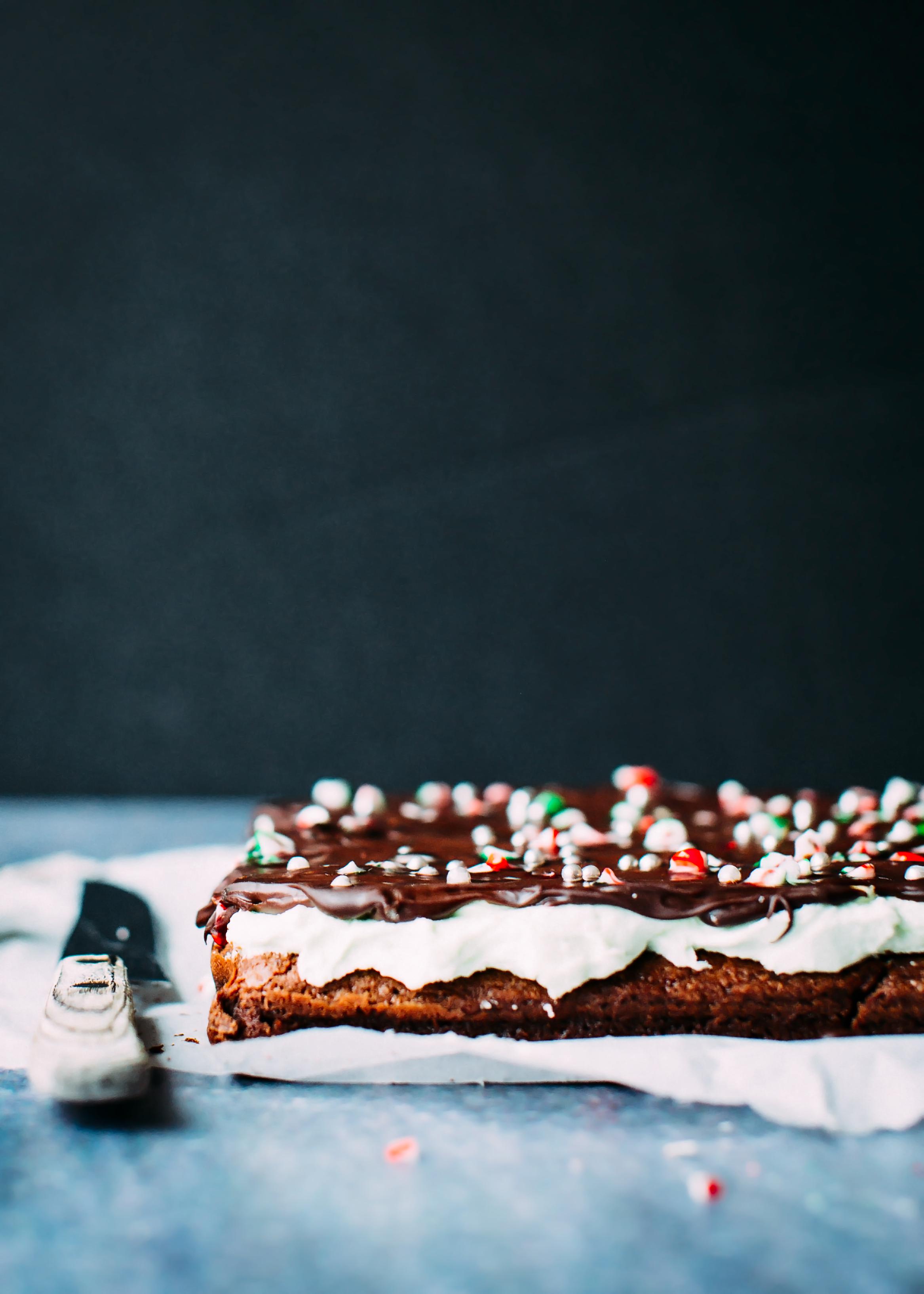 chocolate mint christmas brownies