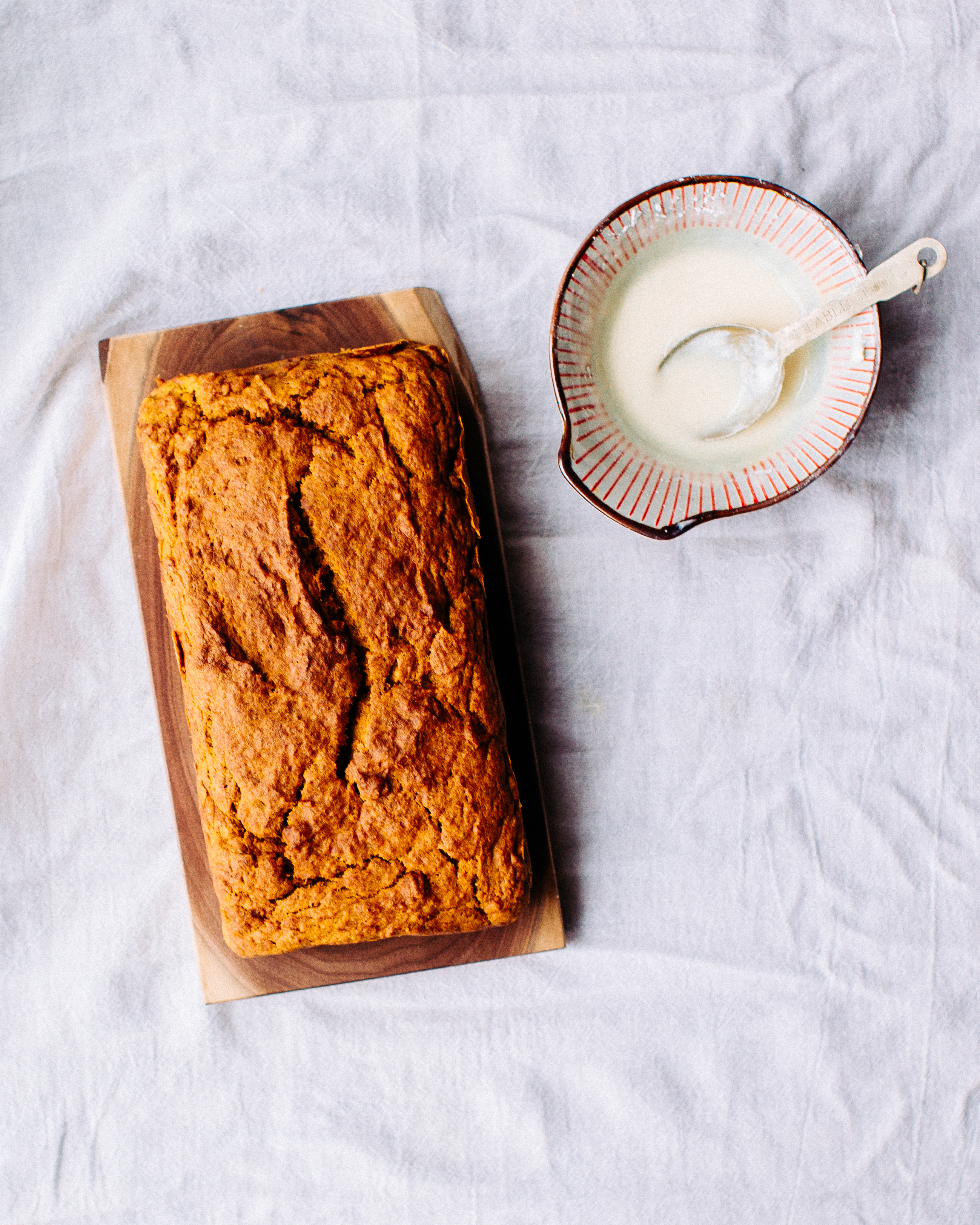 the pumpkin spice bread without the frosting on it yet